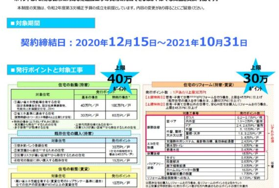 【NEWS】グリーン住宅ポイント制度告知のサムネイル